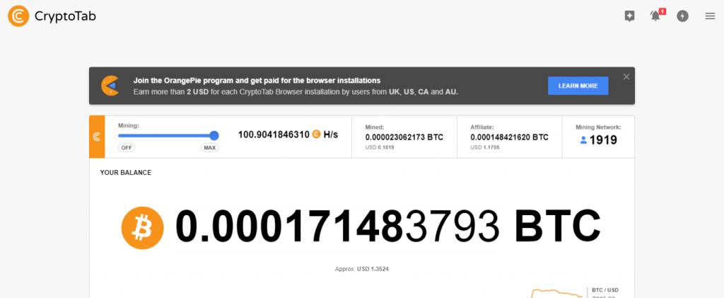 BitCoin Mining mit dem CryptoTabBrowser